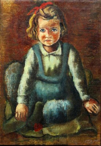 Yohanan SIMON - Pintura - A Portrait of the artist's Daughter - Rare, 50's/