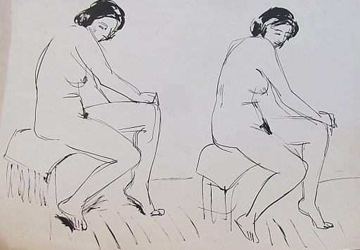 Erich HARTMANN - Disegno Acquarello - #19894: Akt 2 Frauen.
