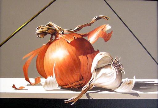 GERICO - Painting - Natura in posa - Cipolla gialla e aglio