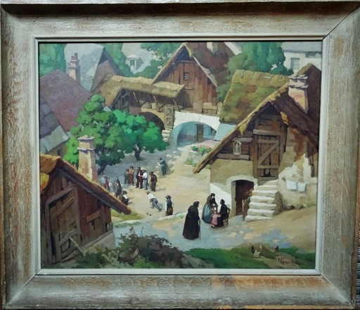 Victor GUERRIER - Painting - Scène de village animé