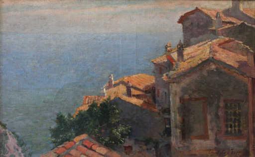 Henri Edmond CROSS - Pintura - Village au bord de la Méditerranée, Eze