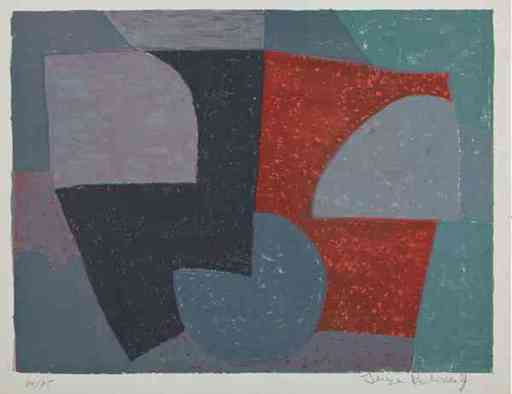 Serge POLIAKOFF - Stampa Multiplo - Composition Grise Rouge et verte n°6