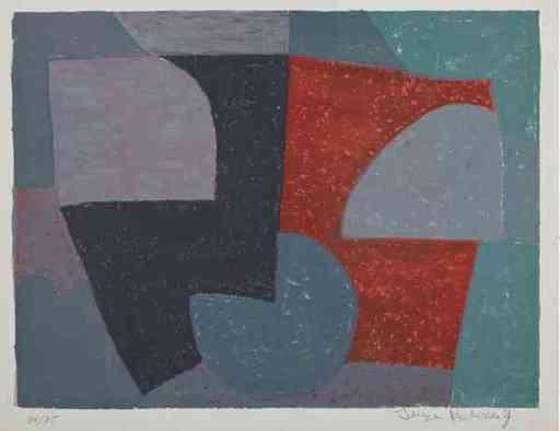 Serge POLIAKOFF - Print-Multiple - Composition Grise Rouge et verte n°6