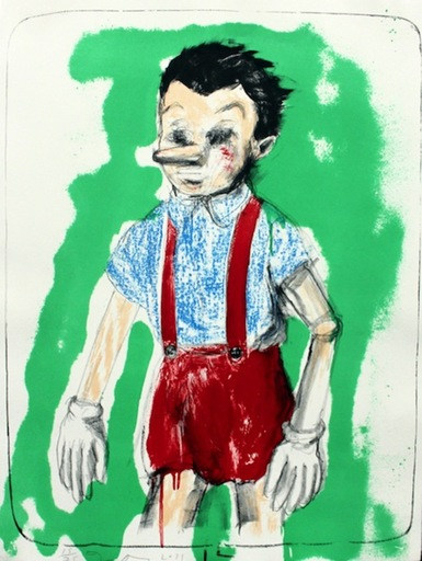 Jim DINE - Grabado - Pinocchio Coming from the Green