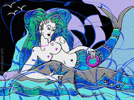 Jacqueline DITT - Estampe-Multiple - The Mermaid - Grafik / graphic ltd. Edition
