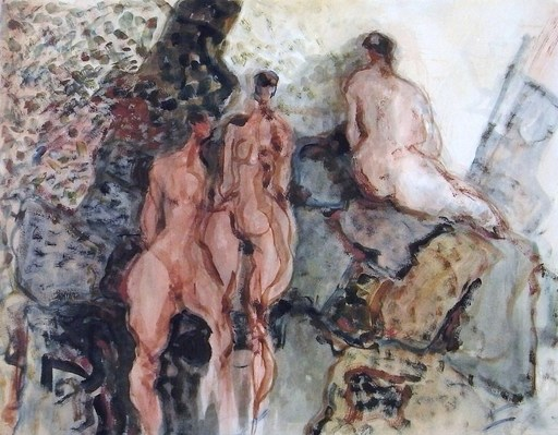 Kiro URDIN - Dibujo Acuarela - Naked women trio