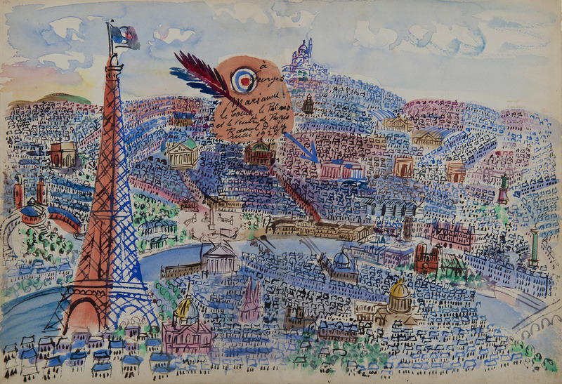 Raoul DUFY - Drawing-Watercolor - Paris, Livre d'or de Marianne