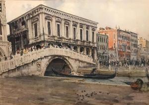 Giuseppe CHERUBINI - Dibujo Acuarela - Venice il Ponte della Paglia ( 1 de 2)