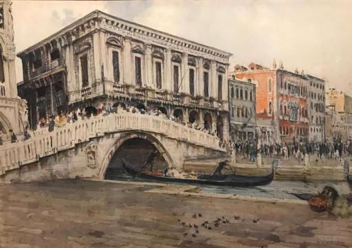 Giuseppe CHERUBINI - 水彩作品 - Venice il Ponte della Paglia ( 1 de 2)
