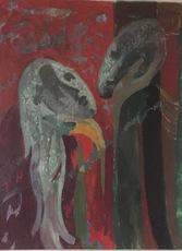 Jean AUJAME - Drawing-Watercolor - Couple de lave