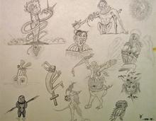 Robert GAUDREAU - Drawing-Watercolor - Angels, Demons, Aliens, Victims Part 1