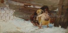 Alejandro SEIQUER - Painting - poussins - polluelos