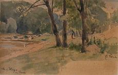 Eduard ZETSCHE - Drawing-Watercolor - An der Thaya bei Raabs
