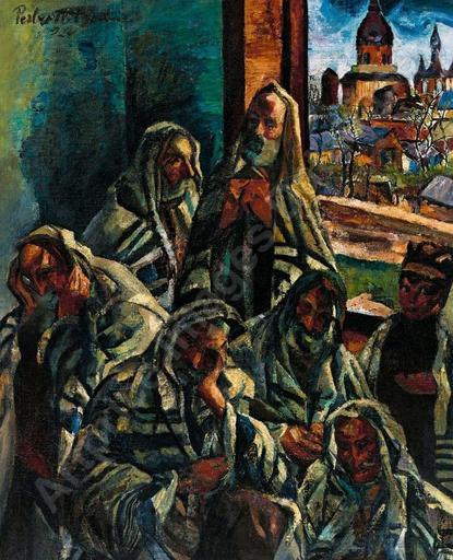Vilmos PERLROTT CSABA - Painting - Pray in the Synagogue