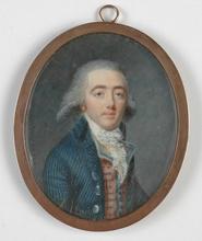 "Jean-Baptiste AUGUSTIN - Dibujo Acuarela -  ""Portrait of a French Gentleman"" 1790"