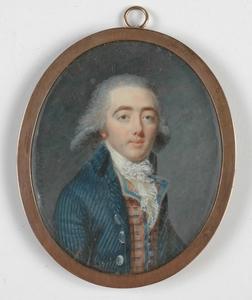 "Jean-Baptiste AUGUSTIN - Dessin-Aquarelle -  ""Portrait of a French Gentleman"" 1790"
