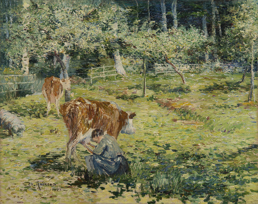 Charles ANGRAND - Painting - Paysanne trayant une vache