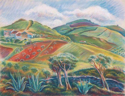 Theodor ALLESCH-ALESCHA - Dibujo Acuarela - Portugal