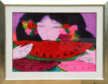 TING Walasse - Painting - Woman Eating Watermelon