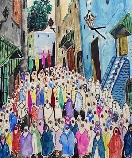 Mohamed BEN ALI R'BATI - Disegno Acquarello - MAROC- Pèlerinage - fête