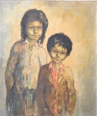 Fanita LANIER - Painting - BROTHER AND SISTER