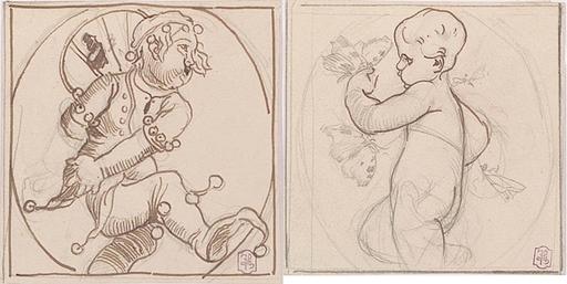 "Leopold BURGER - Zeichnung Aquarell - ""Two Decoration Designs"""