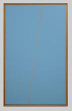 Mario NIGRO - Pintura - Fondo celeste verde 1 riga rosso carminio