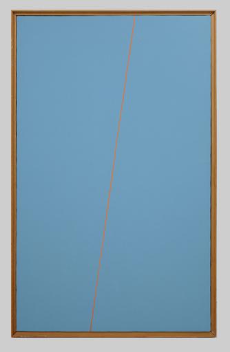 Mario NIGRO - Peinture - Fondo celeste verde 1 riga rosso carminio