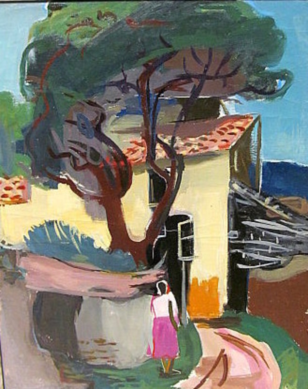 Erich HARTMANN - Painting - Frau vor Haus im Süden.