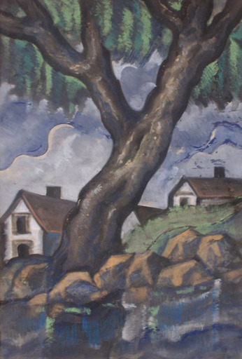 Hugo SCHEIBER - Drawing-Watercolor - Landscape with Tree and Houses