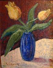 Karl SCHENK - Peinture - Untitled - Yellow Tulips in a Cobalt Blue Vase