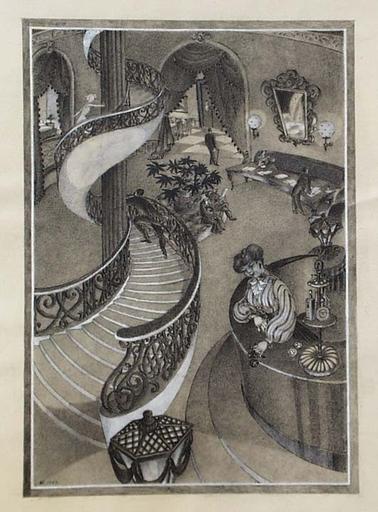 "Fritzi Lazar LÖW - Dibujo Acuarela - ""Hotel"", 1952"