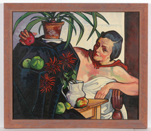 """Josef LACINA - Painting - """"Artist's wife"""" oil painting, 1950s"""