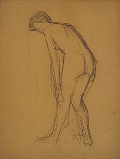 Broncia KOLLER-PINELL - Drawing-Watercolor - Gebeugter Rückenakt