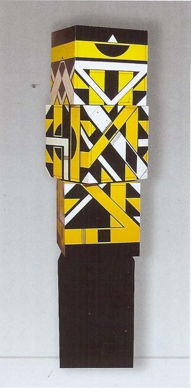 Michel BISBARD - Sculpture-Volume - Petit totem jaune