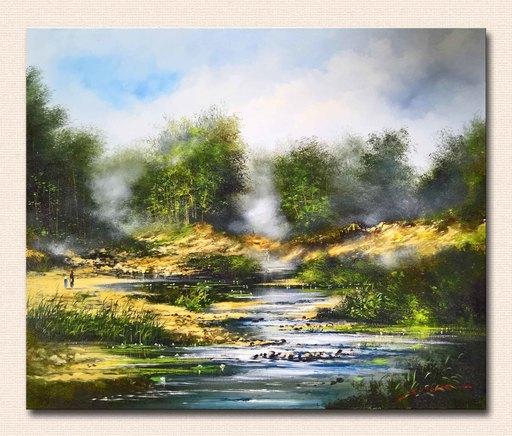 Serge CUCCA - Peinture - Paysage au torrent