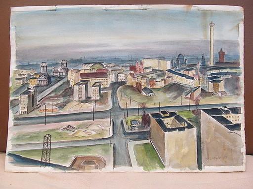 Walter KOHLHOFF - Disegno Acquarello - Blick aus des Westen auf Ostberlin