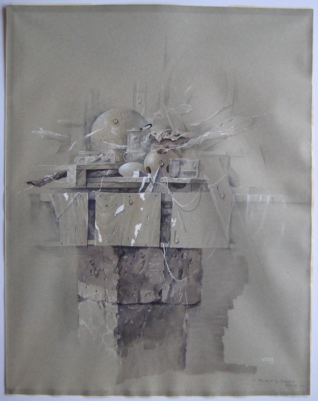 Hiroshi ASADA - Disegno Acquarello - DESSIN GOUACHE 1980 SIGNÉ MAIN HANDSIGNED GOUACHE DRAWING
