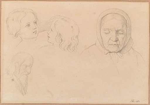 "Hans v.Straschiripka CANON - Zeichnung Aquarell - ""Sketches"", 1864, Drawing"