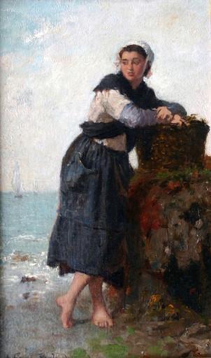 François FEYEN-PERRIN - Painting - Pêcheuse à pied
