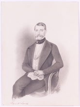 "Johann Zacharias QUAST - Drawing-Watercolor - ""A Czech Gent"", Drawing, 1853"