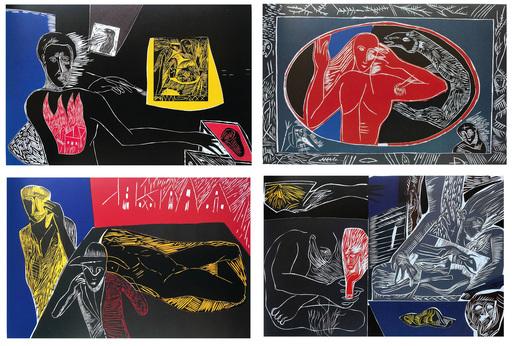 米莫·帕拉迪诺 - 版画 - Ulysses Series - four woodcut set