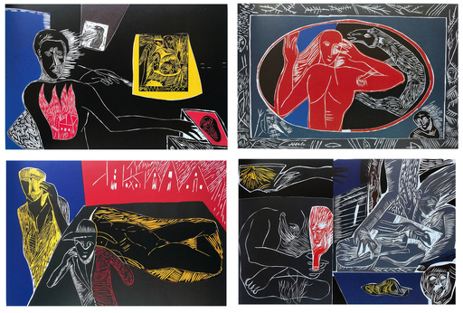 Mimmo PALADINO - Print-Multiple - Ulysses Series - 4 woodcuts               .