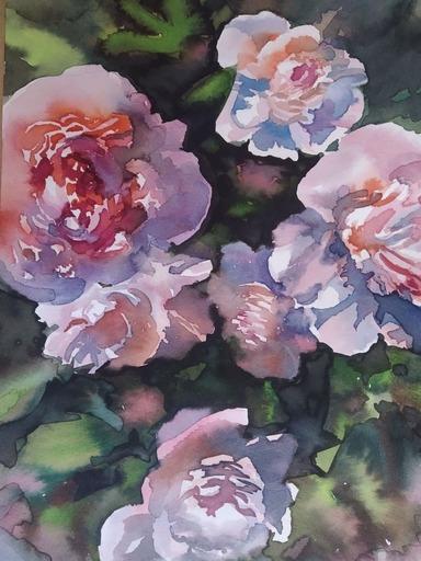 Galina VINDALOVSKAIA - Drawing-Watercolor - Light Peonies