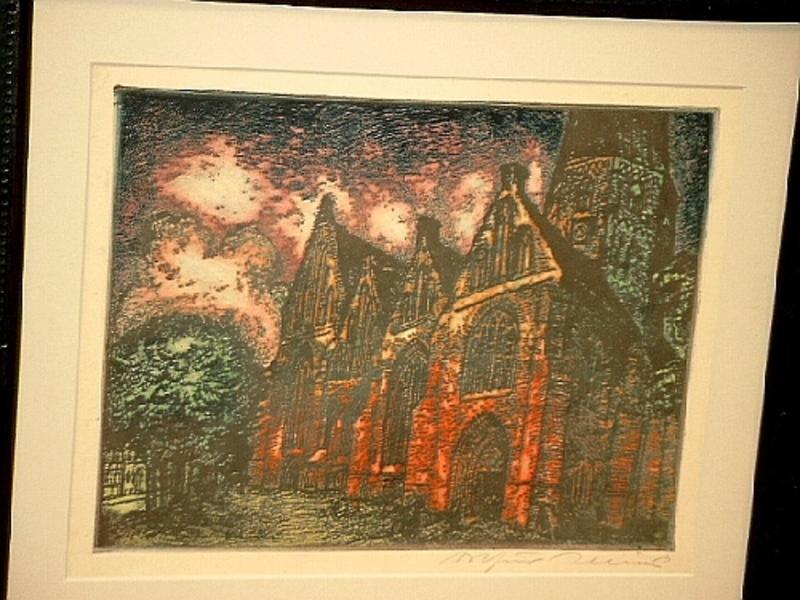 Arthur ILLIES - Grabado - Kirche im Morgenlicht (Salzwedel)