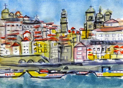 Jean-Pierre CHEVASSUS-AGNES - Dessin-Aquarelle - les barques et la RIBEIRA à PORTO PORTUGAL