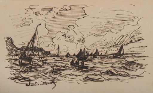 Claude MONET - Disegno Acquarello - Le phare de l'hospice à Honfleur