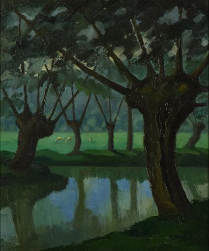 Paul Émile PISSARRO - Painting - Les Trois Vaches au bord de La Lieure à Lyons-la-Forêt