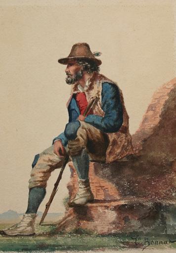 Léon Joseph Florentin BONNAT - Disegno Acquarello - le berger