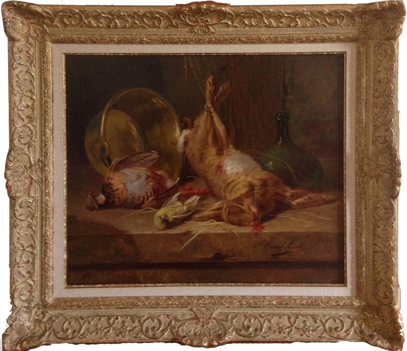 Alfred Arthur BRUNEL DE NEUVILLE - Pittura - Nature morte au lièvre